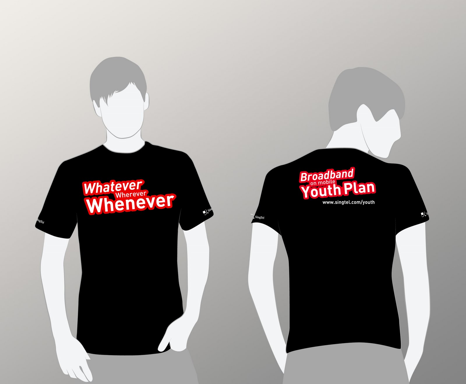 T shirt design queenstown - Singtel Promo Tees For Whatever Wherever Whenever