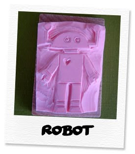robot hand carved stamp