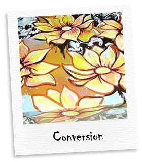 conversion mixed media painting