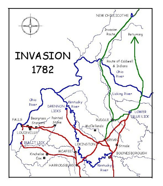 1783 Indian Invasions & map with Strode Station