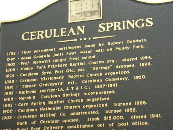 Cerulean Springs marker/side 1