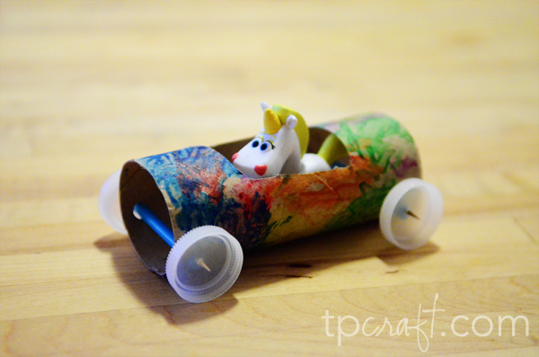 toilet paper roll race car