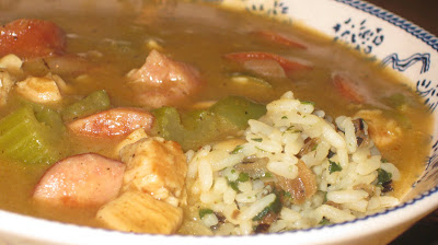 Cheese Curd In Paradise: Chicken Gumbo with Andouille Sausage
