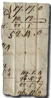 A bookmark torn from a sheet of accounts showing sums involving large amounts of cash