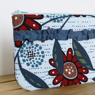handmade zipper pouch with ruffle