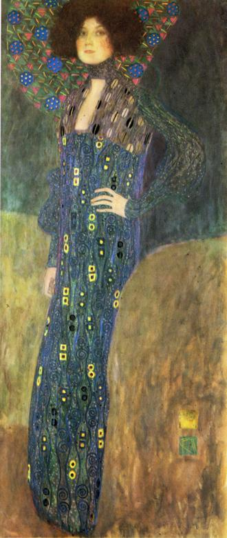 stylish painting of lady friend emilie by gustav klimt