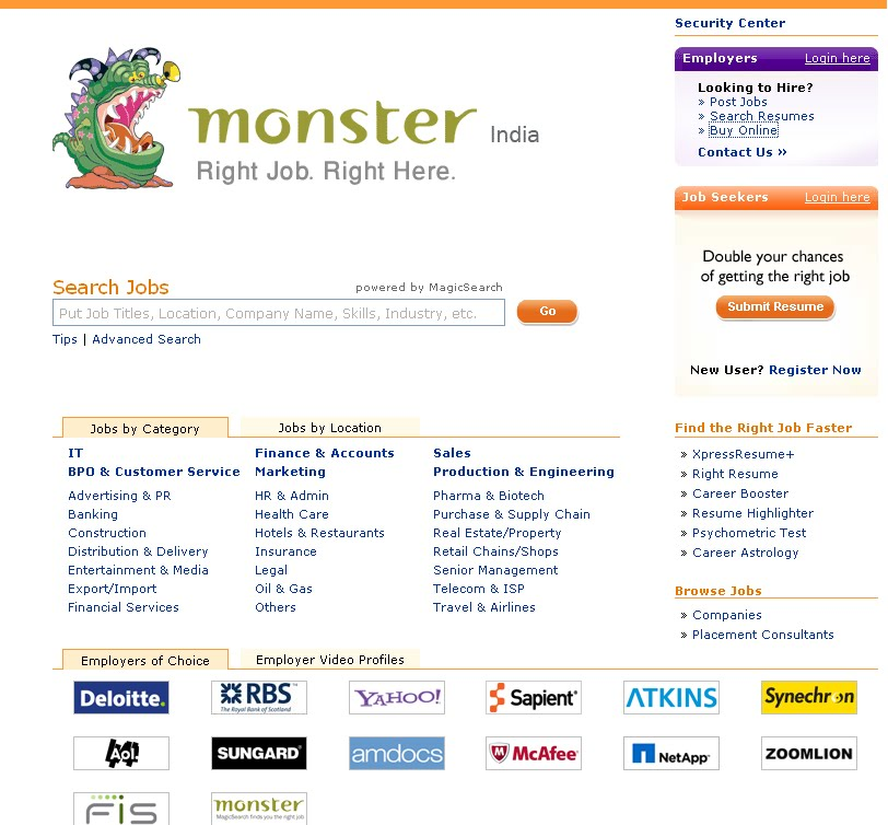 hot on internet  login at largest job search engine monster com registration