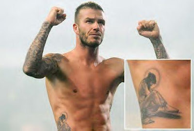 David Beckham Shirtless Shows New Tattoo
