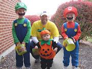 Mario, Luigi, a pumpkin, and a Michigan fan.