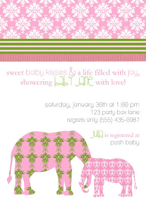 damask baby shower invite