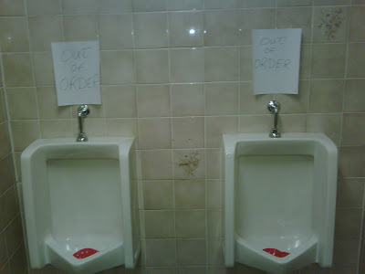 2 Urinals Out of Order at the All Seasons Restaurant in Sussex, NB