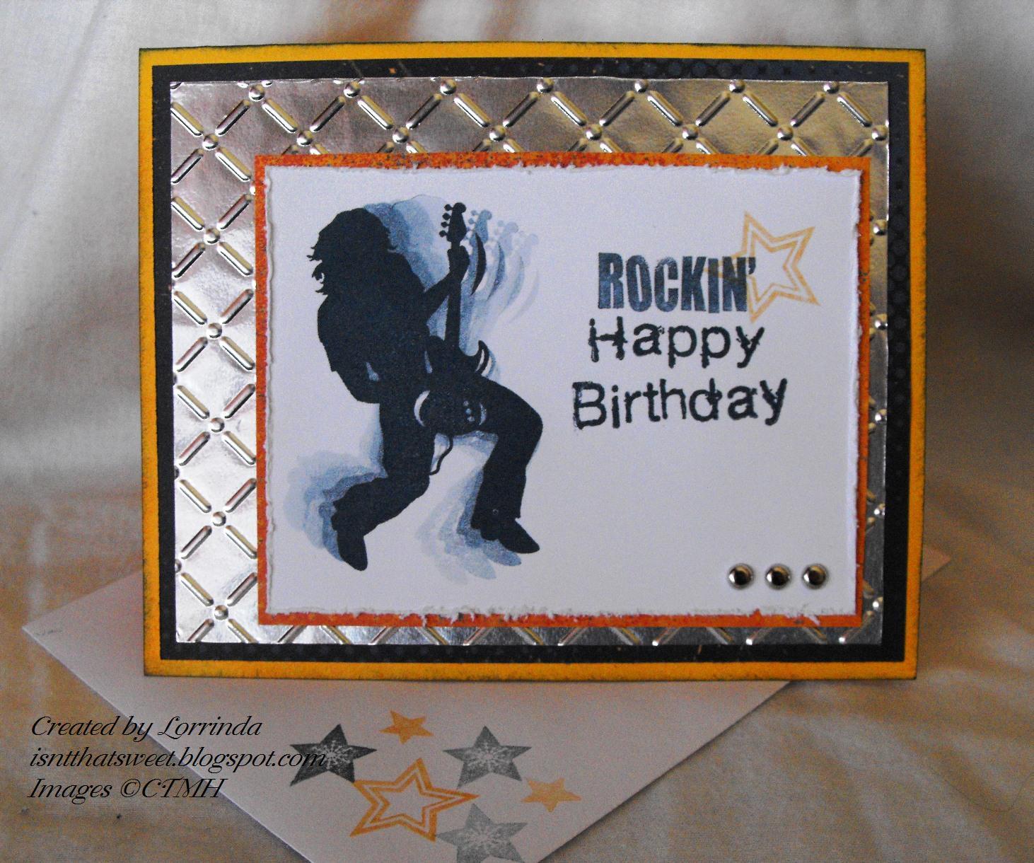 isn't that sweet? hh challenge , rockin' birthday card, Birthday card