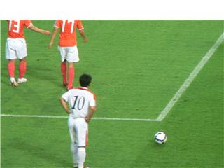 Hong Yong-jo gets ready for a free-kick