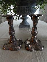 Antika äkta silverljusstakar