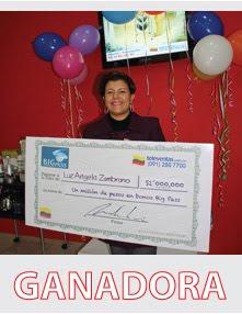 Primera ganadora de la rifa ´´Gánese un millón en bonos bigpass´´