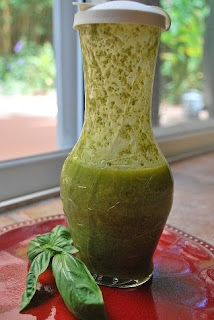 Homemade basil viniagrette dressing
