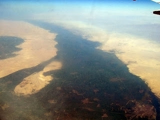 The Nile makes its way through the Sahara
