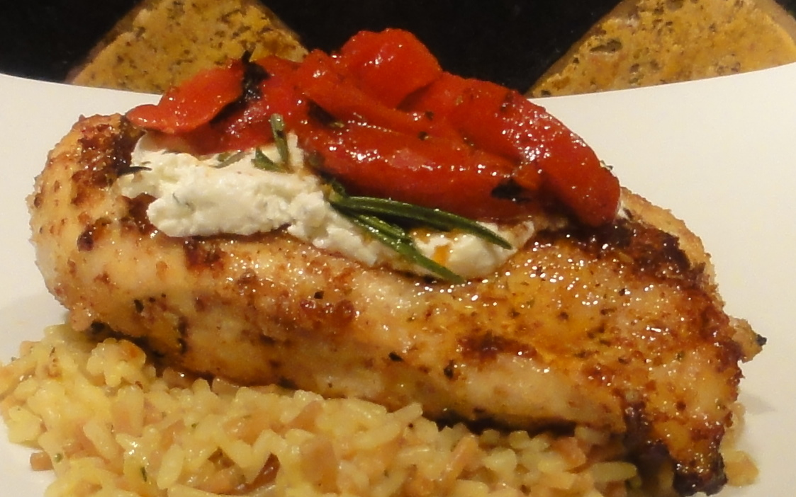 Chicken Breast with Rosemary Goat Cheese and Roasted Red Peppers