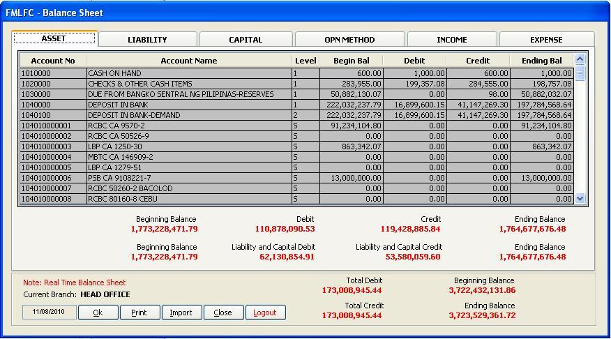 microsoft visual foxpro  general ledger balance sheet
