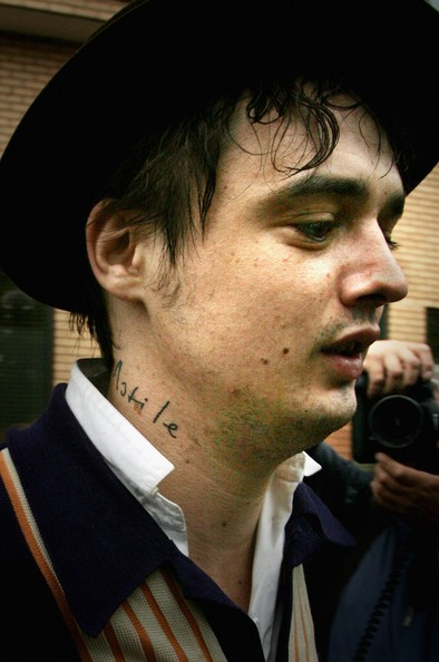 Pete Doherty also has a few other tattoos, however they are difficult to see