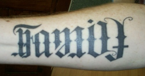 Inner forearm ambigram tattoo design.