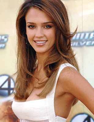 Jessica Alba long stylish hairstyle.