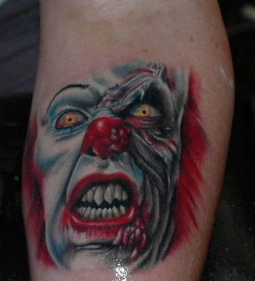 Enjoy these scary clown tattoo pictures.