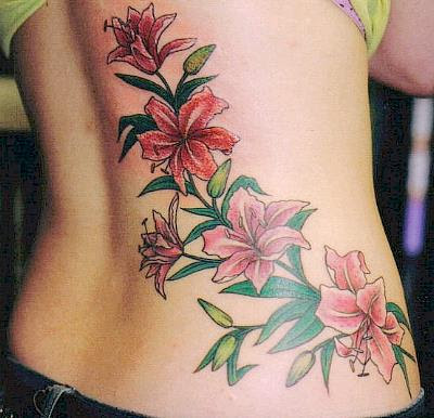 butterfly and flower tattoos,art butterfly and flower tattoos,red butterfly
