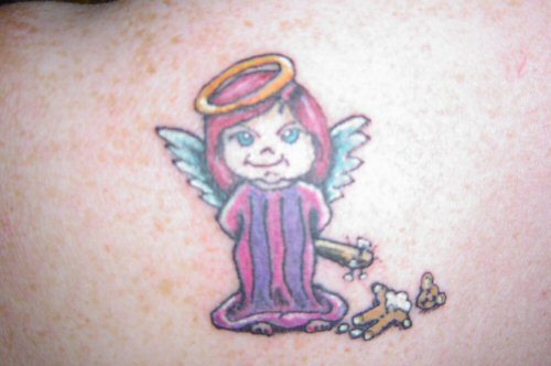 simple angel tattoos. cartoon angel girl tattoo.