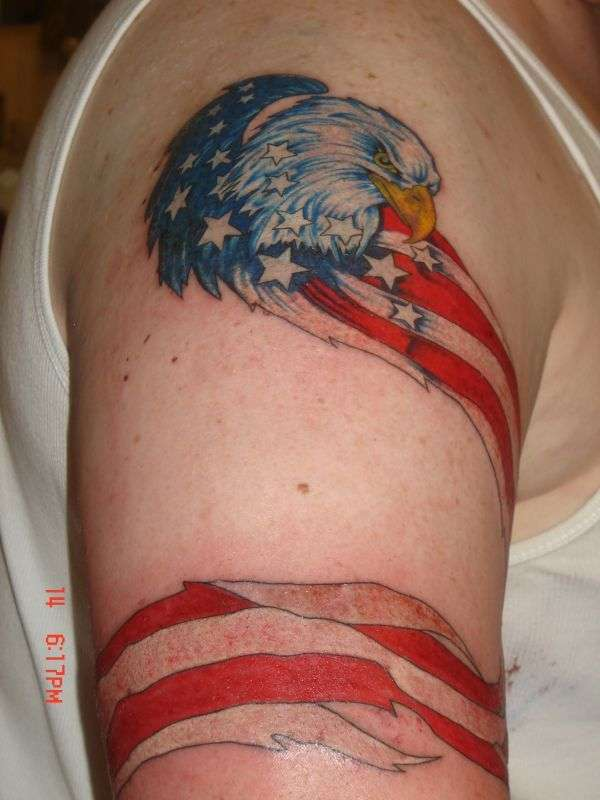 American flag with eagle tattoo.