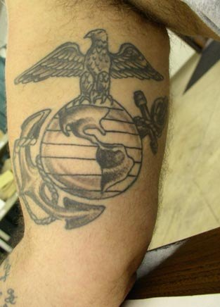 Globe eagle navy anchor tattoo.