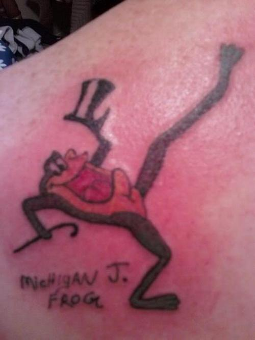 Cartoon singing frog from looney toons tattoo.