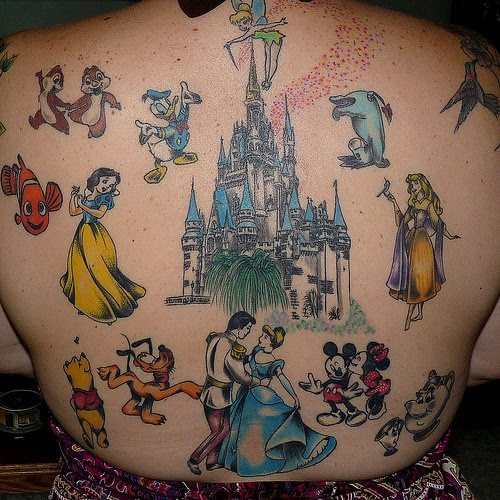 Various Disney tattoos on back.