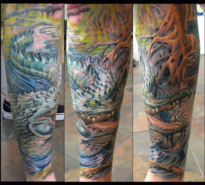 High quality Alligator sleeve tattoo.