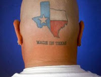 Red, white and blue with made in Texas saying