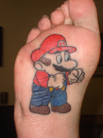 Super Mario on bottom of foot