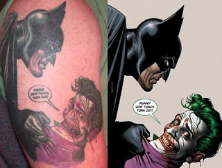 Batman and joker on upper arm