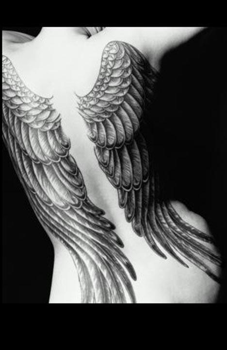 angel wings back tattoos