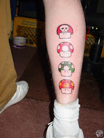 Mario mushrooms on back of calf