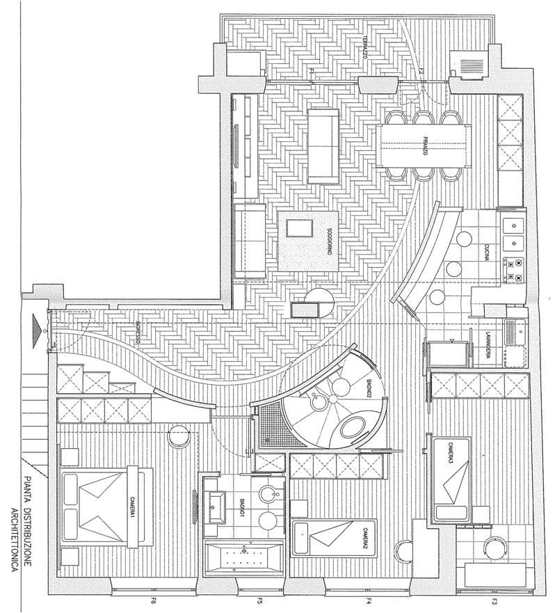 Luminosissimo 115mq salone doppio 3 camere 2 bagni for Progetto appartamento moderno
