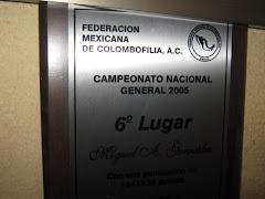 Placa otorgada por el sexto lugar campeonato Nacional general 2005.