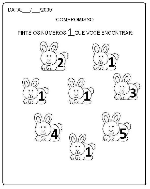 Excepcional Alegria de Aprender na Educação Infantil: ATIVIDADES COM NÚMERO 1 OF22