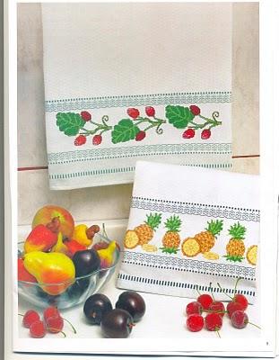 Punto de cruz gratis cenefas de frutas para pa os de cocina for Punto de cruz para cocina