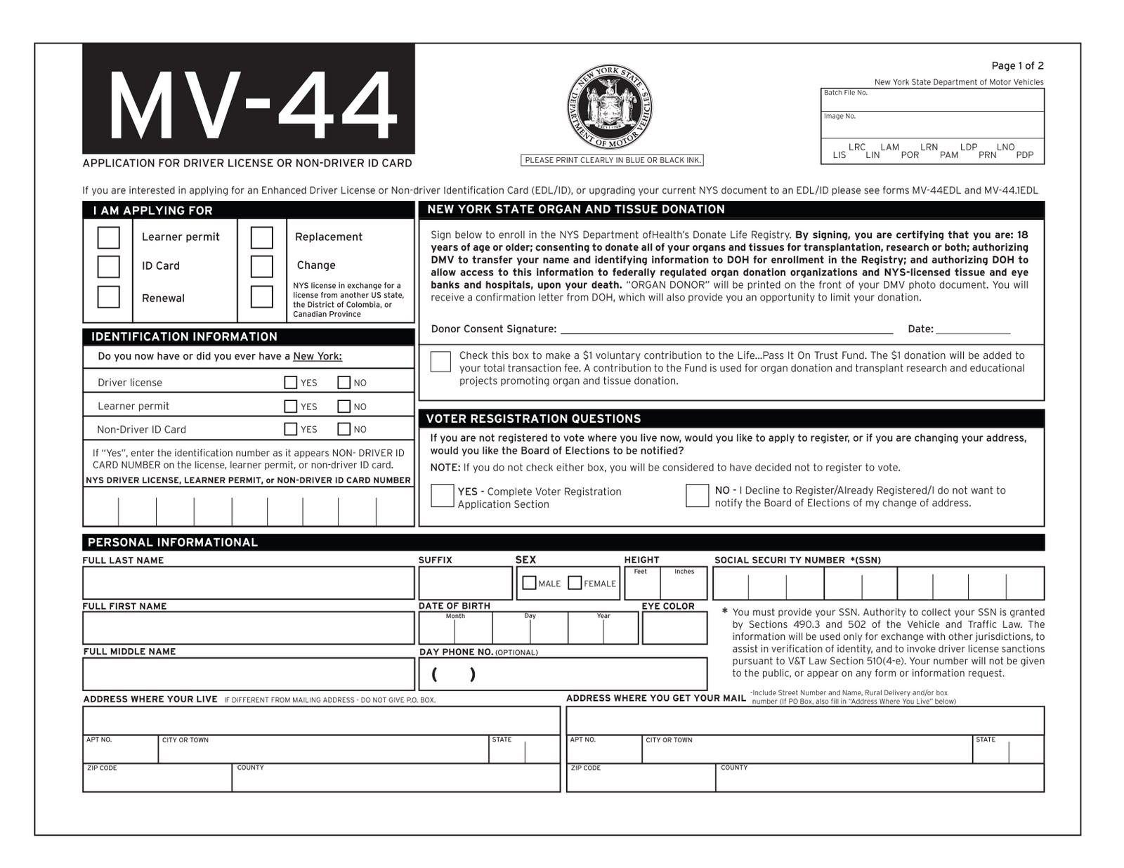 Dmv Drivers License Application Ny