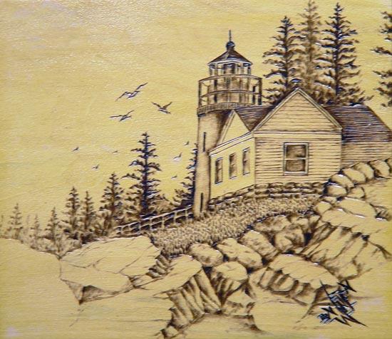 فن الرسم على الخشب