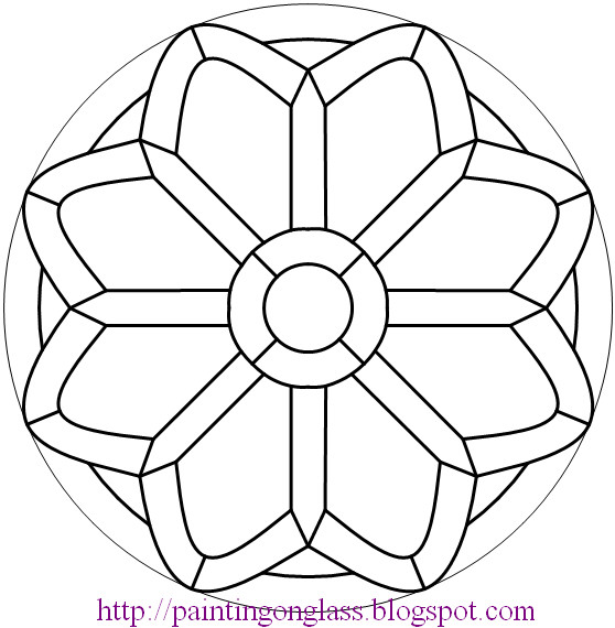 Free stained glass pattern church rose painting on glass for Glass painting templates