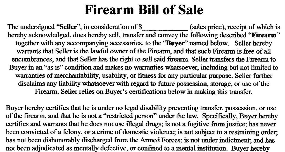 Utah Concealed Carry Permit Sample Firearm Bill of Sale – Bill of Sale for Gun