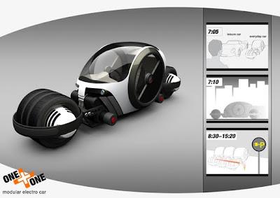 one modular electro car 3d design concept