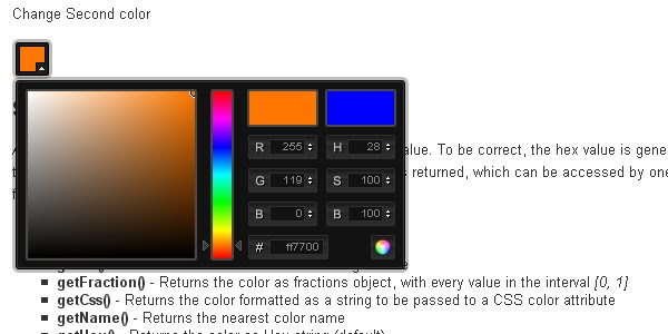 jQuery color plugin xcolor