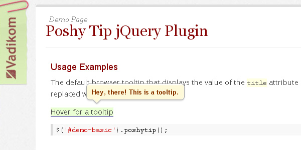jQuery Plugin for Stylish Tooltips